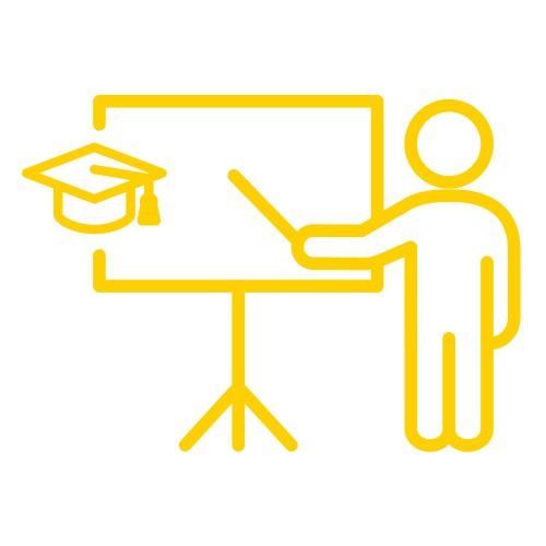 illustration of person standing at chalkboard